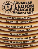 Aquabear's annual Pancake Breakfast is Sunday, January 29th from 1pm-4pm at ARTS/West in Athens
