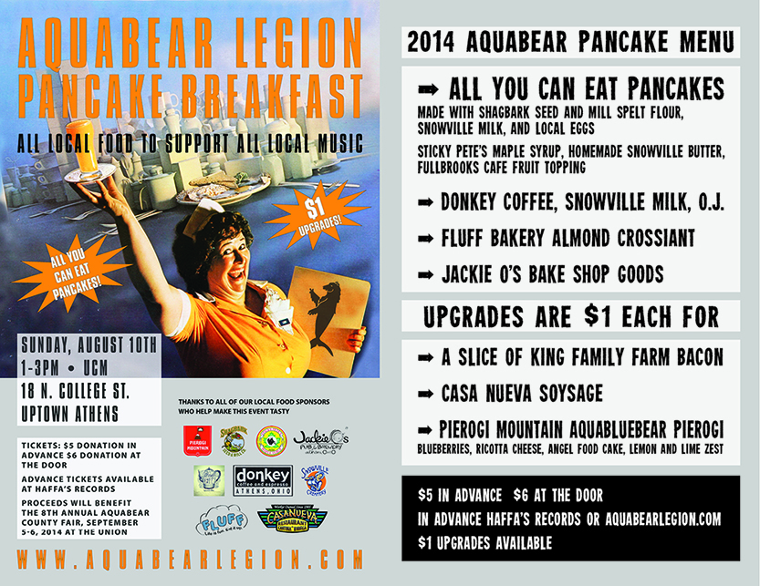 Here's the menu for this Sunday's all local Aquabear Pancake Breakfast! Get tickets below or at the door and remember to bring a few extra bucks for upgrades!