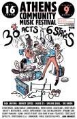 The 16th annual Athens Community Music Festival is this Saturday, August 9th. 32 Athens bands will perform at 6 stages around town.